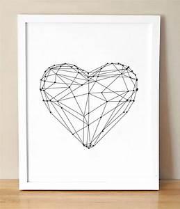 No Frame Heart Shape Simple Canvas Wall Art Modern Wall ...