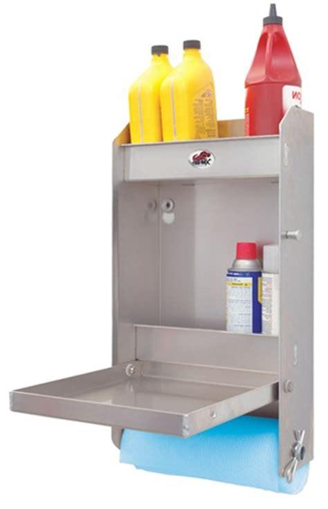 tow rax aluminum storage cabinet  folding tray  tall   wide machined finish tow rax