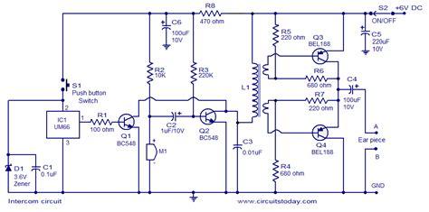intercom circuit diagram  transistors  um  ringer