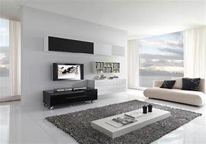 Modern black and white furniture for living room from for Black and white modern living room