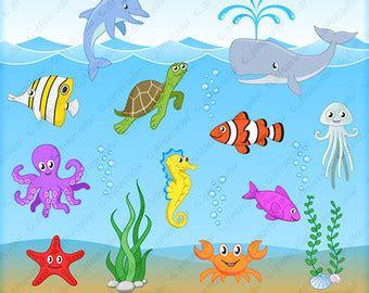 sea creatures clipart sea animal clipart etsy