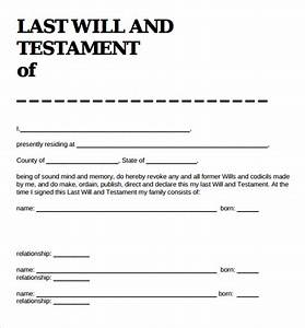 9 sample last will and testament forms sample templates for Sample of last will and testament template