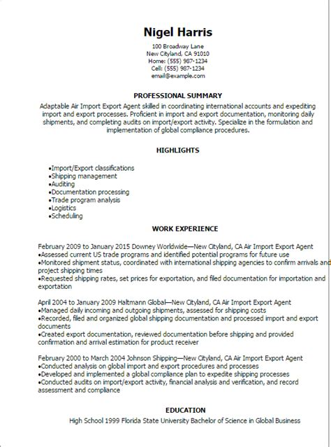 professional air import export resume templates to