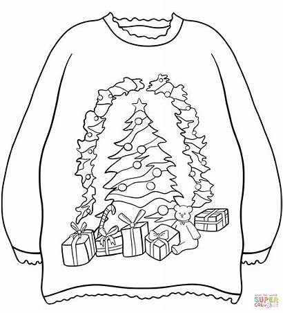 Coloring Christmas Sweater Tree Presents Pages Sweaters
