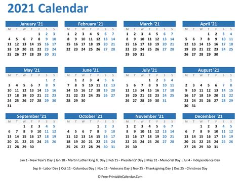 48+ Free Printable 2021 Calendar With Holidays  Images