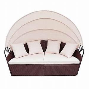 Polyrattan Lounge Rund : li il polyrattan sunbed lounge rund mit kissen und dach ~ Indierocktalk.com Haus und Dekorationen