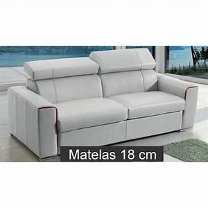 Canape lit rapido en cuir avec matelas 18 cm verysofa renoir for Canapé lit matelas 18 cm