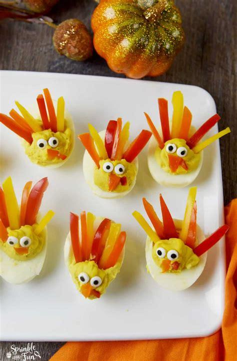 deviled egg turkeys sprinkle  fun