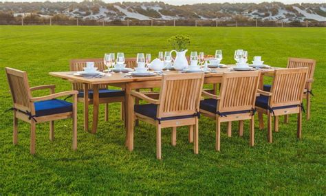 wholesaleteak 9 grade a teak outdoor dining set with