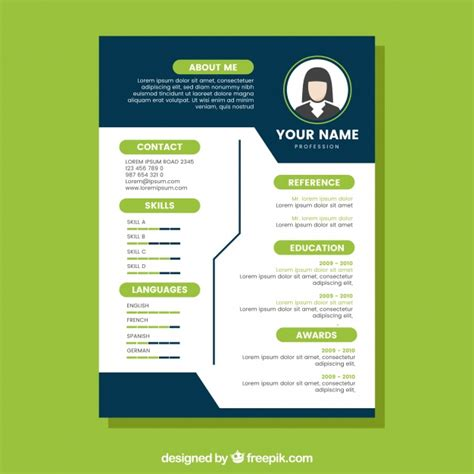 Cv Coloré Gratuit by Blue And Green Cv Template Vector Free