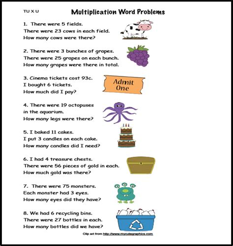 worksheet single digit multiplication word problems
