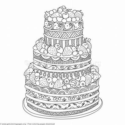 Cake Coloring Pages Doodle Zentangle Illustration Colouring