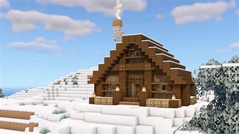 minecraft simple winter christmas log cabin tutorial video   minecraft cottage