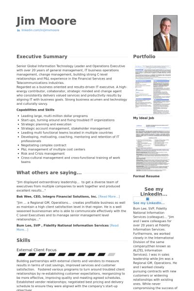 chief information officer resume sles visualcv resume