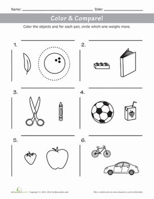 color compare weights  objects worksheet educationcom