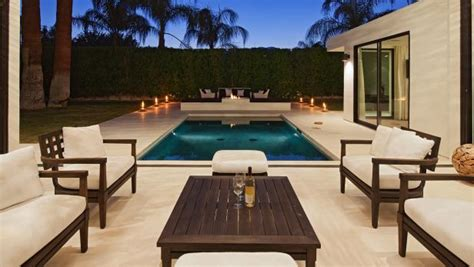 elegant modern patio  dark wood furniture hgtv