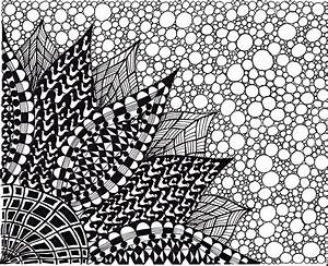 Abstract Ink Drawing Zentangle Inspired Art Flower Black and