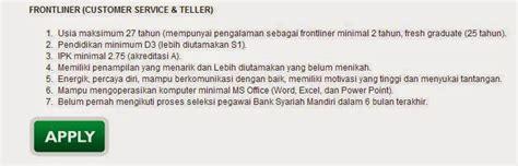 lowongan kerja bank mandiri syariah malang oktober