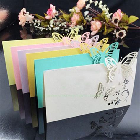 wine glass placement on table ᐂ100pcs lot laser cut butterfly ᗜ Lj place place cards