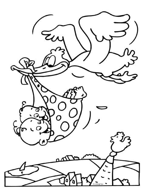 Tweeling Kleurplaten by Tweeling Baby Ooievaar Knutselpagina Nl Knutselen
