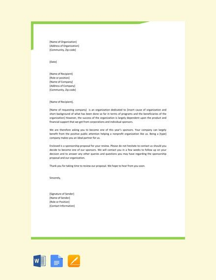 examples  sponsorship letters word  google