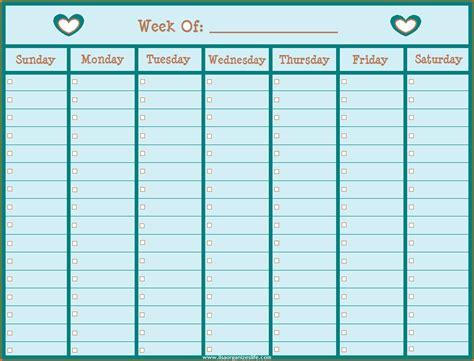 printable weekly calendar  hours