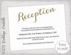 wedding reception invitation template diy gold With format of wedding reception invitation card