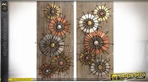 Décoration Murale En Bois : d coration murale en diptyque en bois et m tal 80 x 70 cm ~ Dailycaller-alerts.com Idées de Décoration