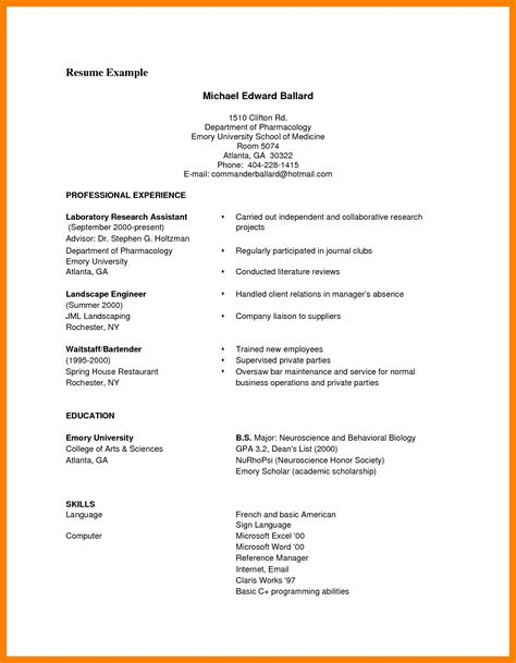 Cv Format by 9 Cv Format Sles Pdf Theorynpractice