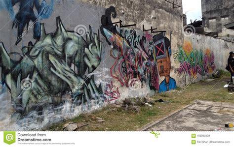 Grafiti Fikri : Graffitikunst In Batu Pahat Redactionele Stock Afbeelding