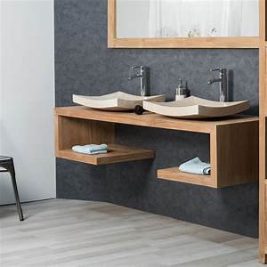 Meuble Sous Vasque Salle De Bain : meuble sous vasque double vasque en bois teck massif pure rectangle naturel l 160 cm ~ Teatrodelosmanantiales.com Idées de Décoration