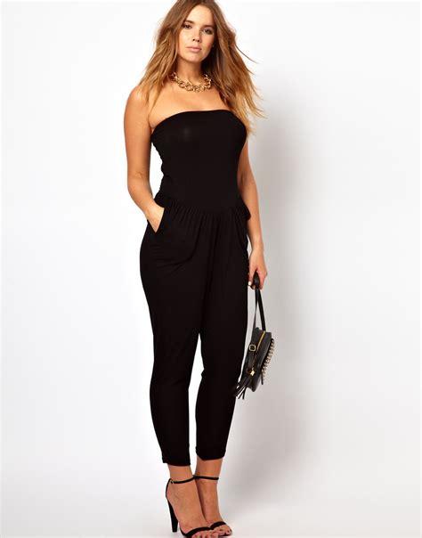 and black jumpsuit black strapless jumpsuits dressed up