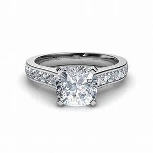cathedral cushion cut diamond engagement ring With cushion cut diamond wedding ring sets