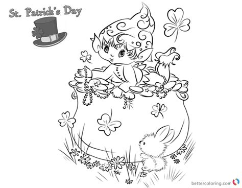 St Patricks Day Coloring Pages Shamrocks And Cute