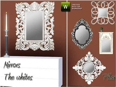Different Types Of Mirrors White Pickled Wood, Vintage