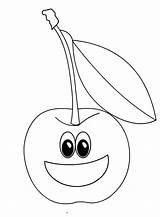 Coloring Cherry Cartoon Boyama Colorare Ciliegia Meyve Disegni Fruit Fruits Kiraz Frutta Colorir Ciliege Dessin Printable Preschool Pdf Bambini Anasınıfı sketch template