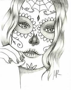 Coloring pages... Mexican Skulls Drawings Sugar skull ...