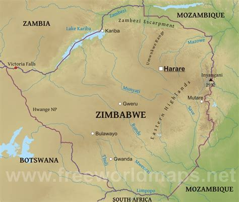 zimbabwe   map  travel information