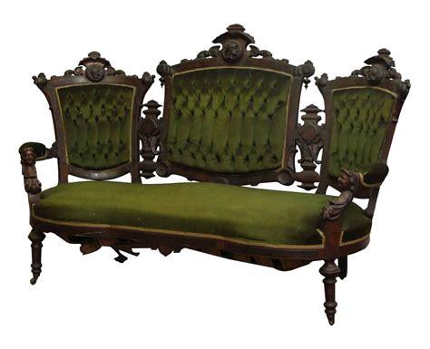 green velvet settee carved pottier and stymus mahogany green velvet