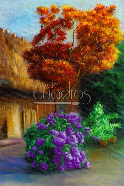 Cuadro De Jardín Florido, Paisaje Al óleo En Venta