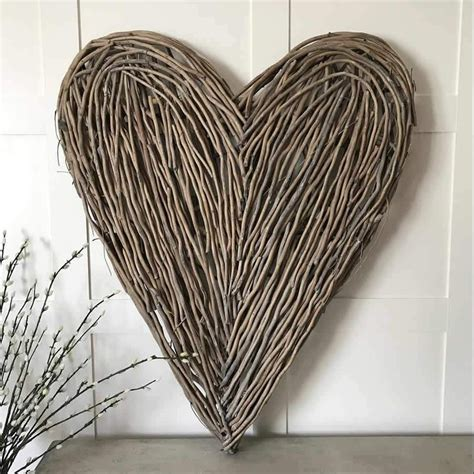 Diy copper washer heart wall hanging. Extra Large Wicker Wall Heart Natural | Heart wall, Heart wall decor, Wicker hearts