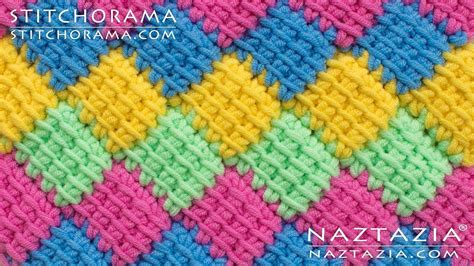 crochet entrelac tunisian interlaced patchwork