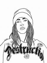 Billie Eilish Coloring Pages Print Singer Crying Destruction Comments Raskrasil sketch template