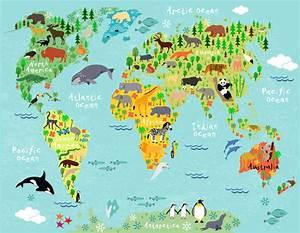 Weltkarte Kontinente Kinder : fototapete weltkarte kinder kontinente und tiere ~ A.2002-acura-tl-radio.info Haus und Dekorationen