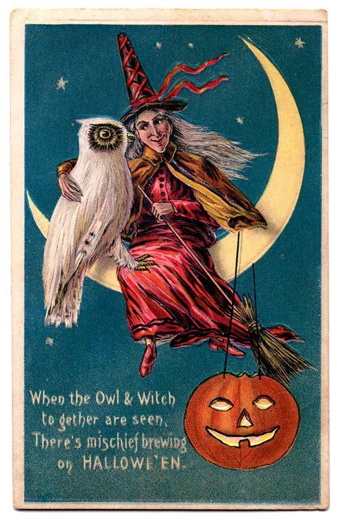 vintage halloween clip art witch owl moon pumpkin
