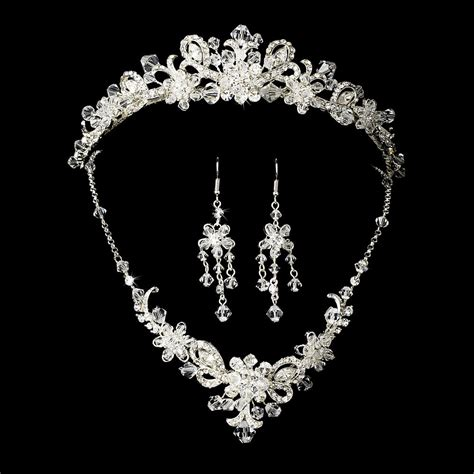 silver bridal jewelry set  tiara  swarovski crystal
