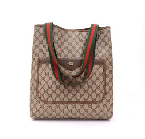 gucci vintage gucci gg brown monogram vinyl tote hand bag