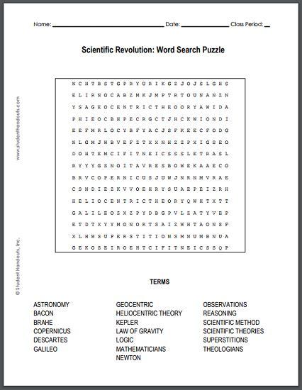 scientific revolution word search puzzle free to print