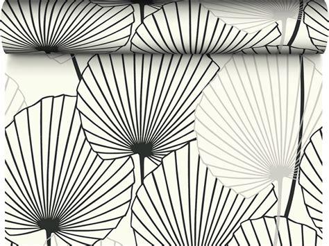 torchon de cuisine design papier peint 100 intissé motif feuille de palmier noir