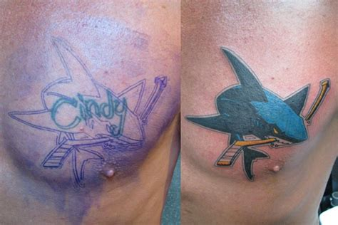Metal Mike Tattoos - San Jose Sharks Cover up on Billy